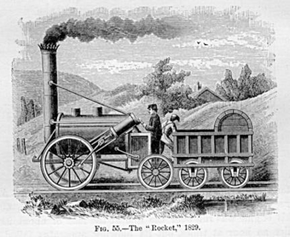 "The ""Rocket."" An 1829 invention and one of the earliest viable trains. Rail became one of the chief economic advantages that europeans held over other countries. The ability to move goods and weapons very rapidly within their own borders was huge."