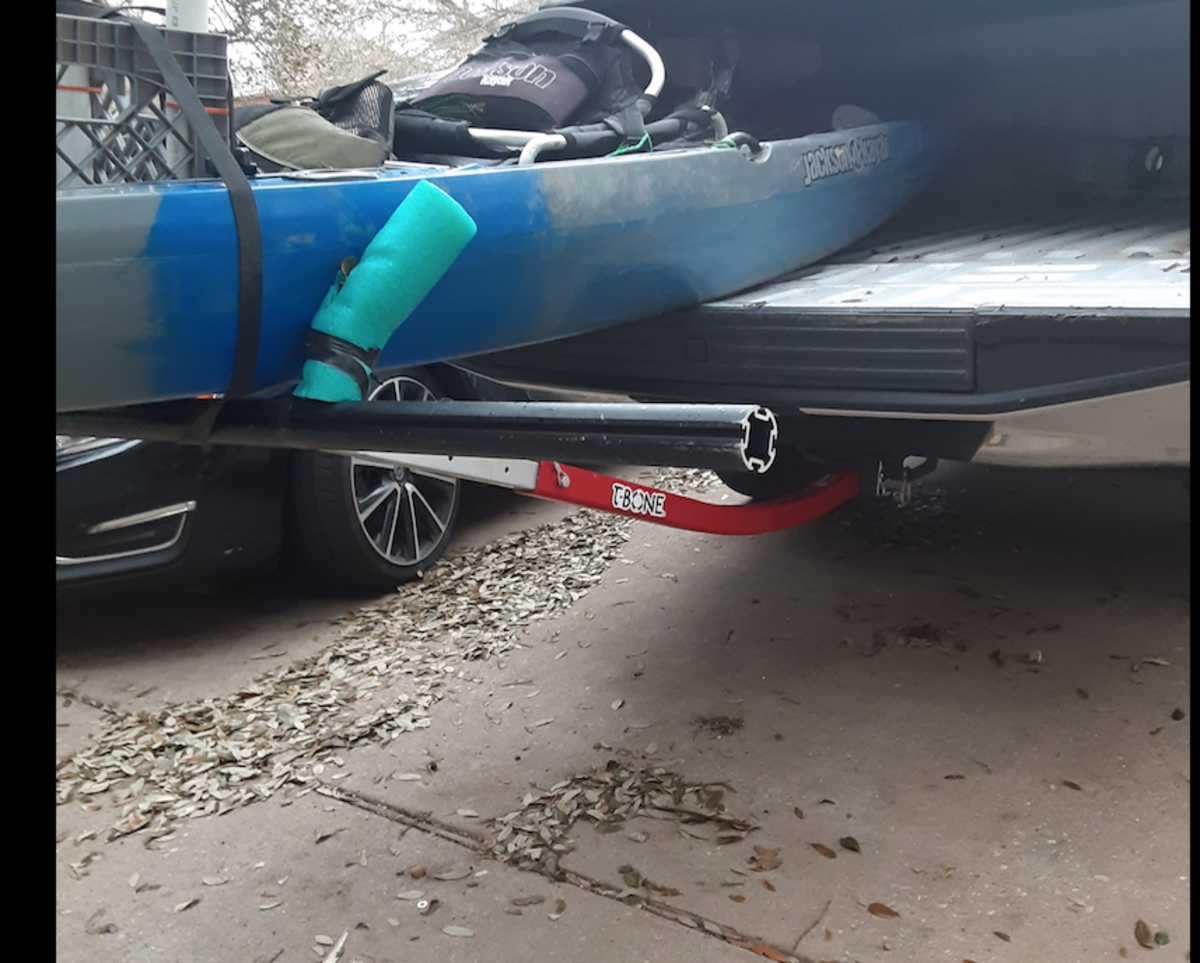 The Boonedox Groovy T-Bone Bed Extender on a short bed Ford F-150. (The pool noodle I used as a rub guard was since replaced with black pipe insulation for a cleaner look.)