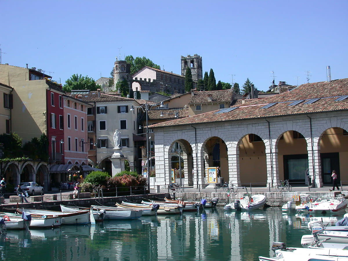 It shows the old port of Desenzano, a city at the lake Garda.