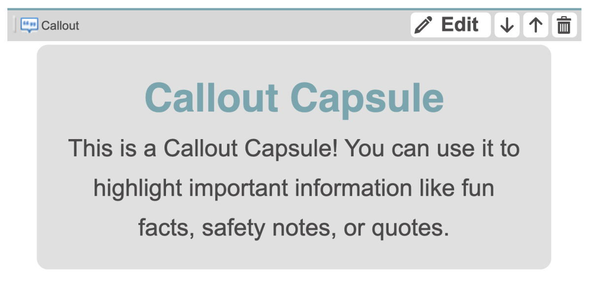 This is what a Callout Capsule looks like in the HubTool.