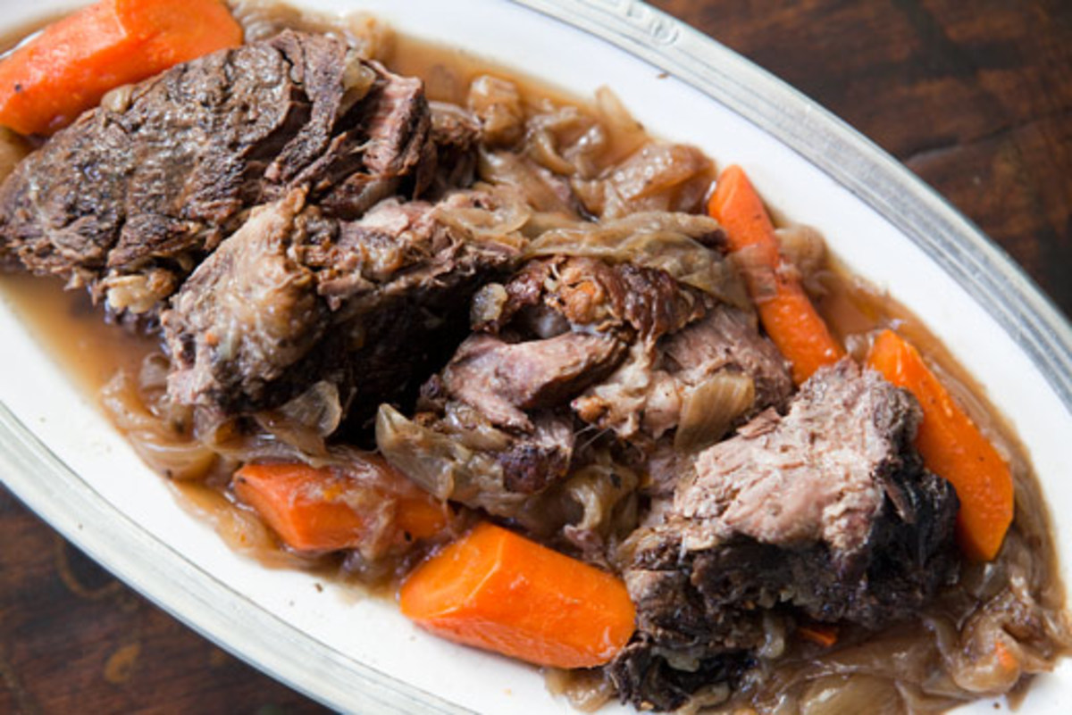 Tip- Before putting  your pot roast in the crockpot, brown it in a large skillet with a couple tablespoons of veg. oil.