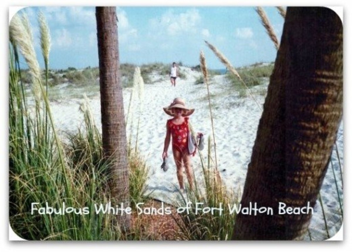 My young niece on those dazzling white sands of Fort Walton Beach.