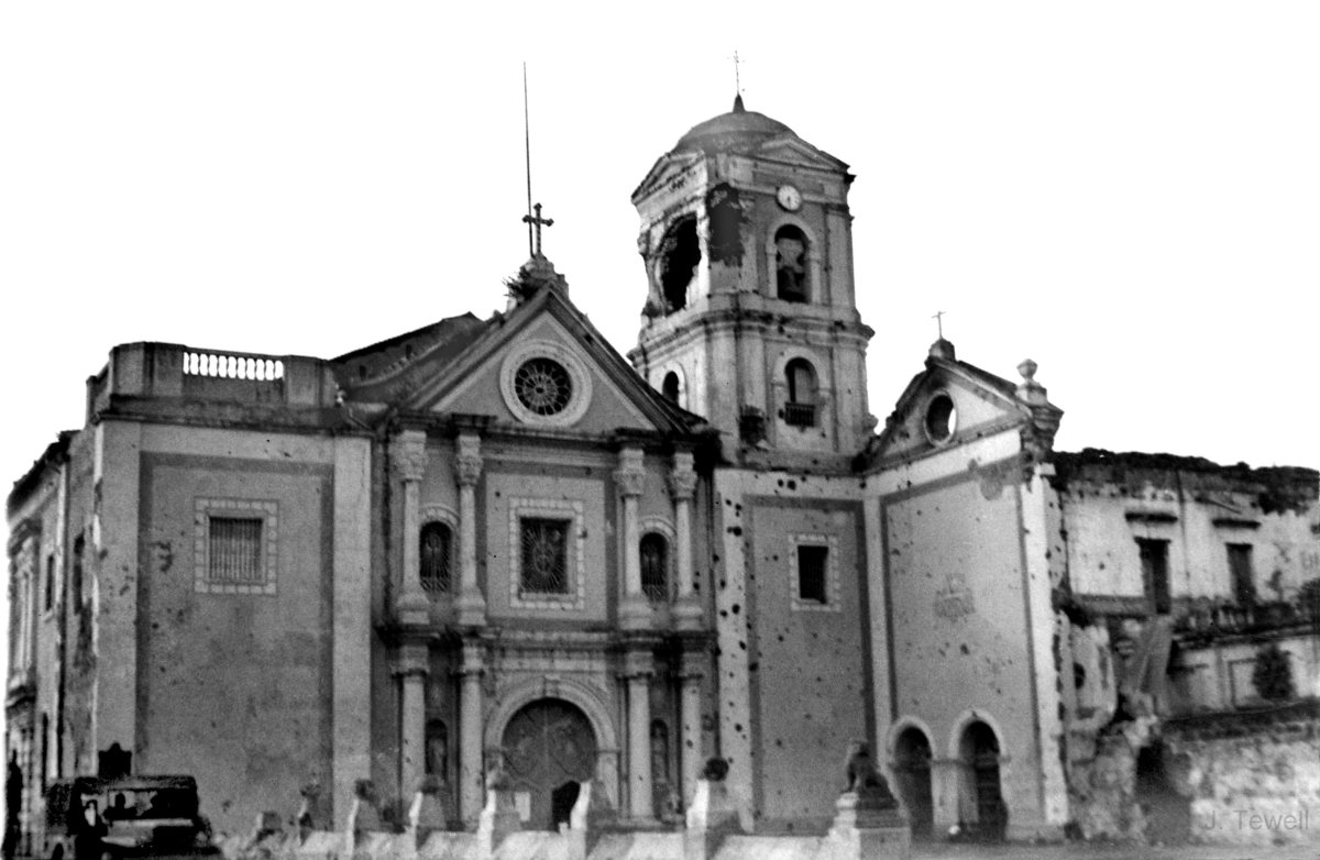 San Agustin Church damaged during the Battle of Manila in 1942 (Photo credit: Flickr: John Tewell)