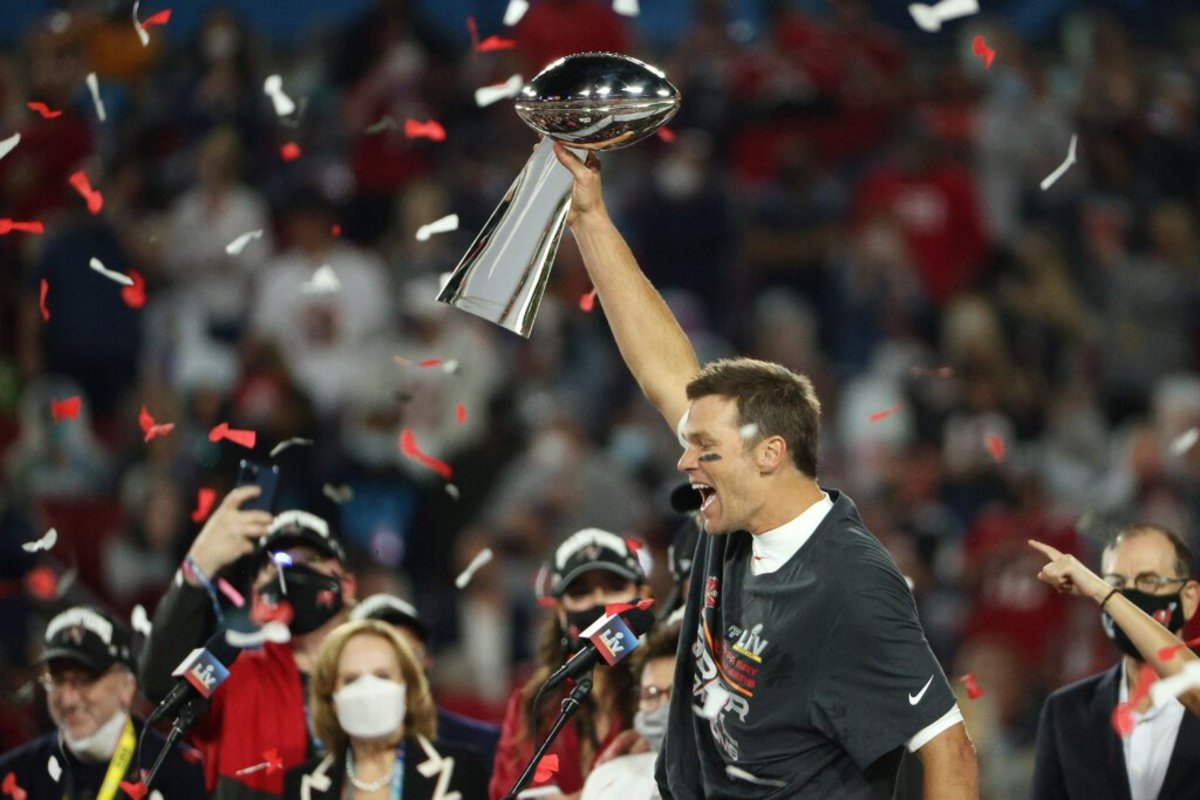 Brady Raising his 7th Lombardi Trophy in Tampa, FL after Super Bowl LV.