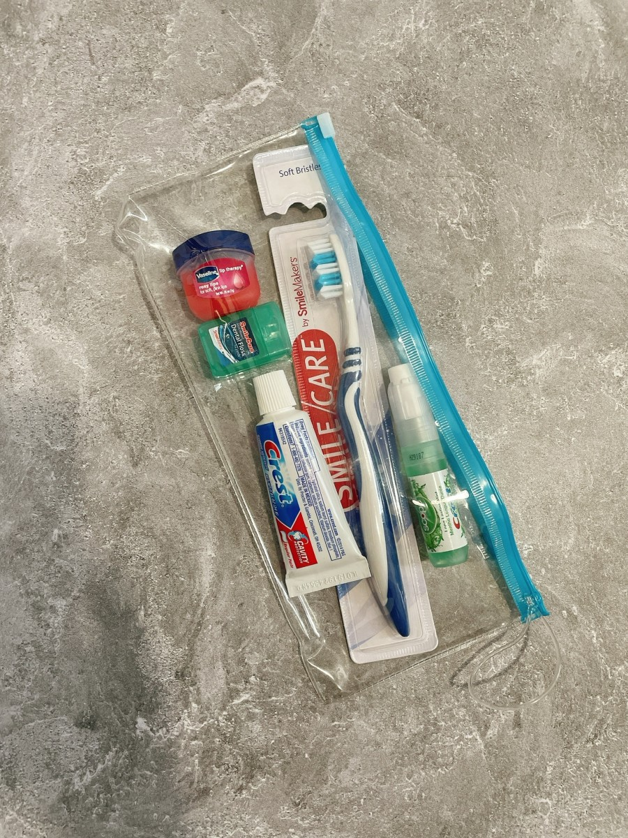 I admit that I am super compulsive about being clean, including my mouth and teeth. I carry these essentials on board so I can brush, floss, and feel fresh on the airplane.