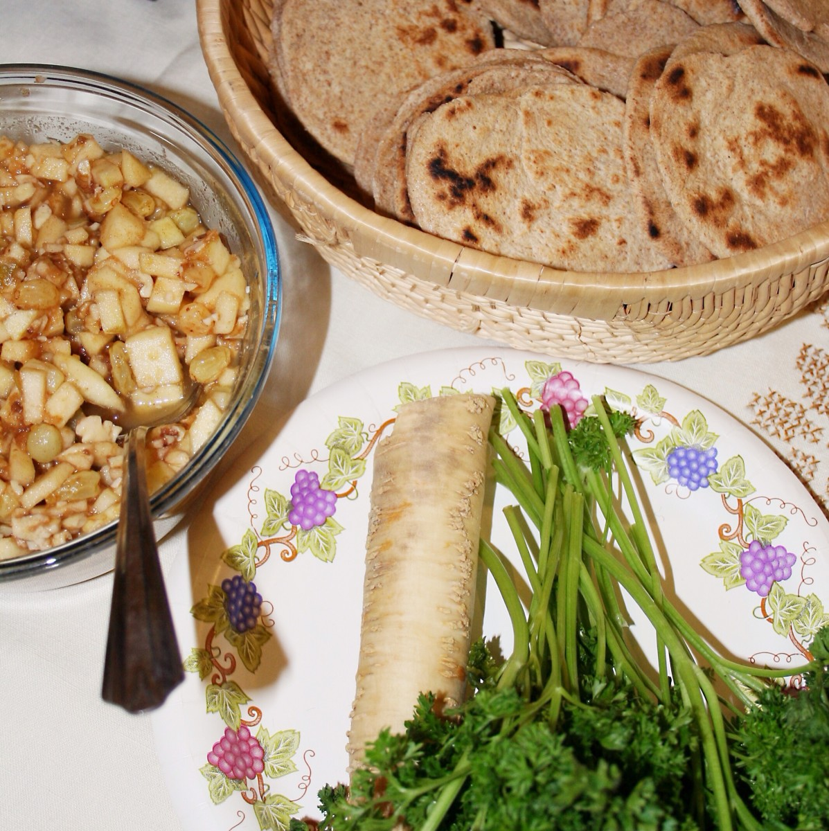 Foods prepared for a Passover Seder, including horseradish root