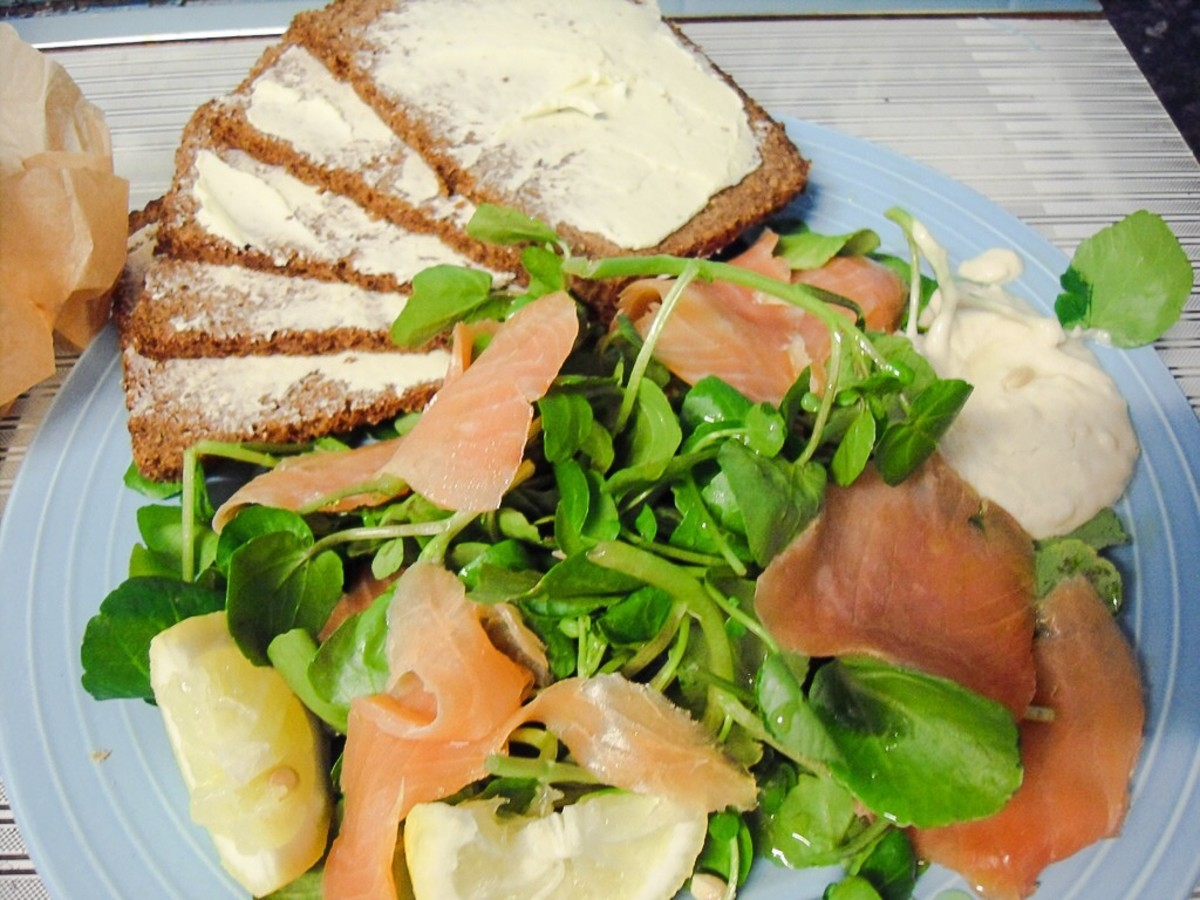 Salmon salad with rye bread, watercress and creamy horseradish sauce