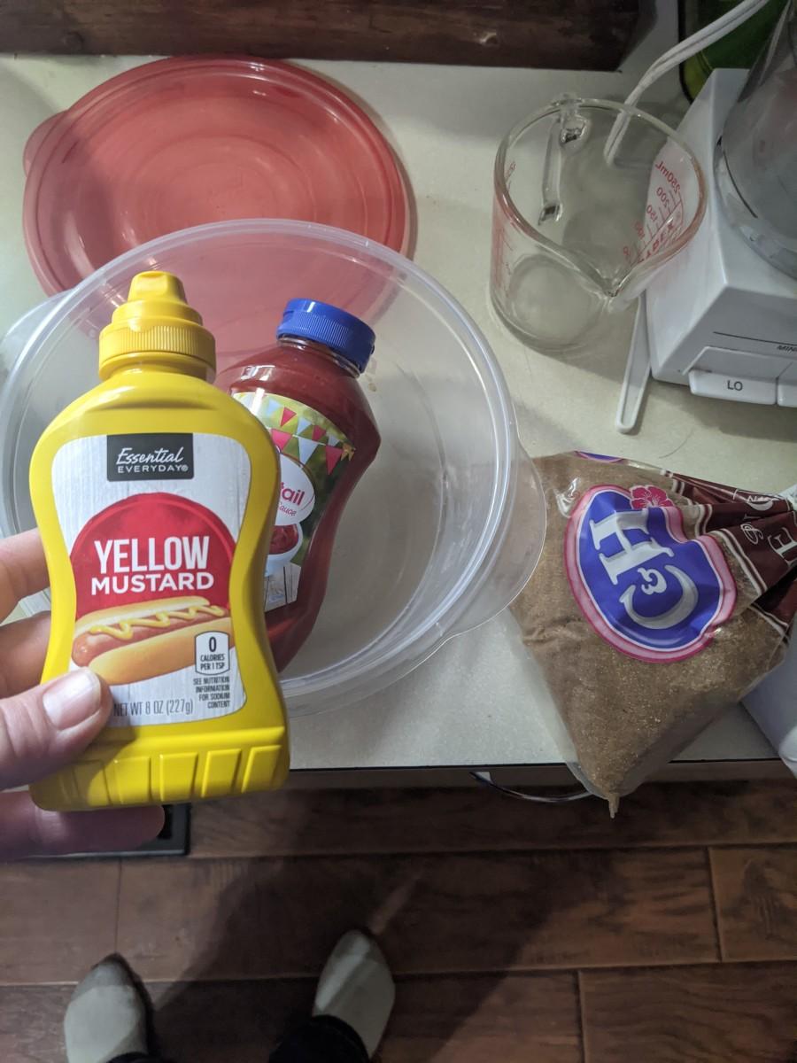 Cocktail sauce, mustard