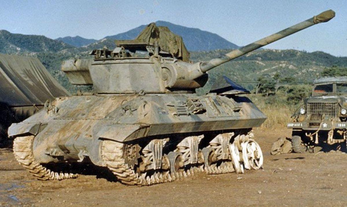 An M36 tank destroyer during the Korean War