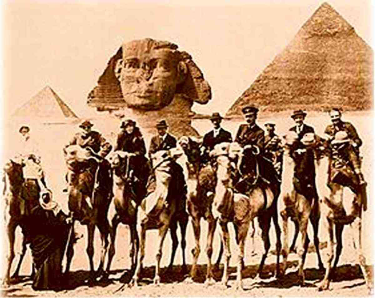 Gertrude Bell is on the camel, third from the left
