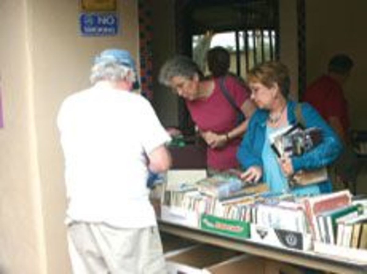 A library book sale held in the library courtyard.