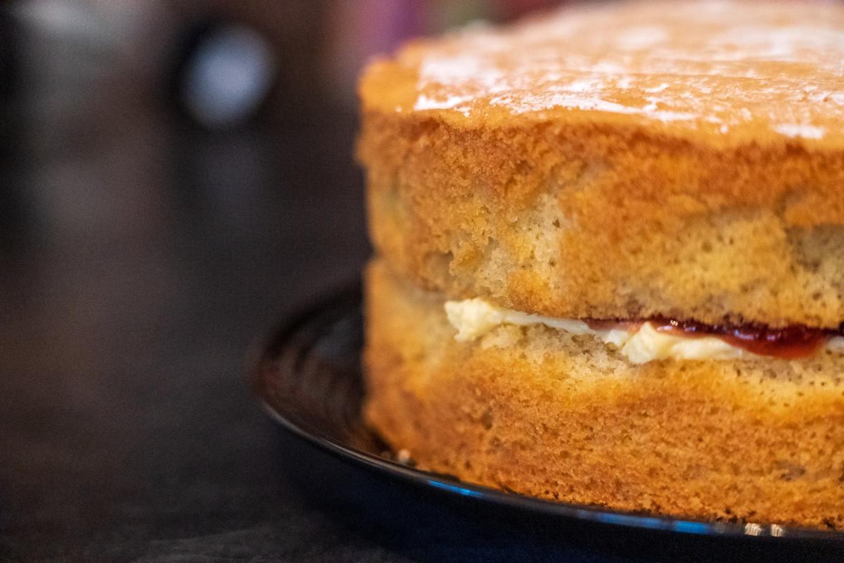 A freshly baked, homemade Victoria sponge cake