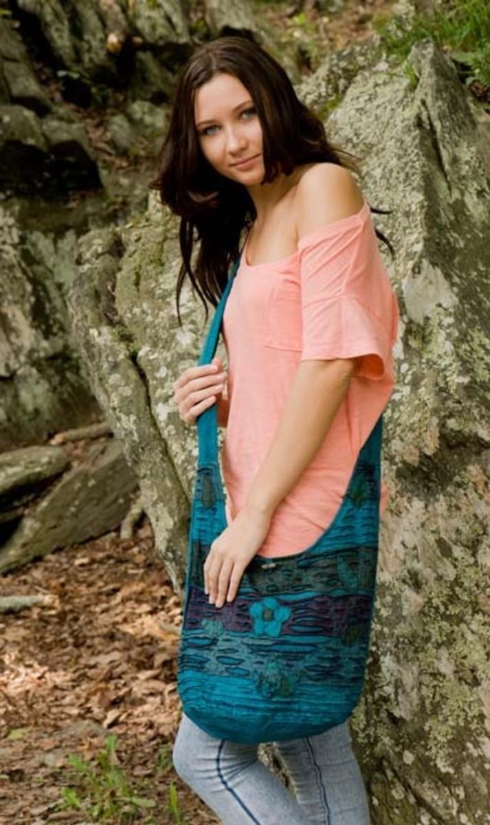 Cloth sling bags create a slouchy, Boho look