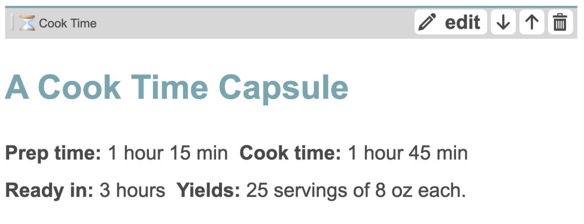 This is what a Cook Time Capsule looks like in the HubTool.