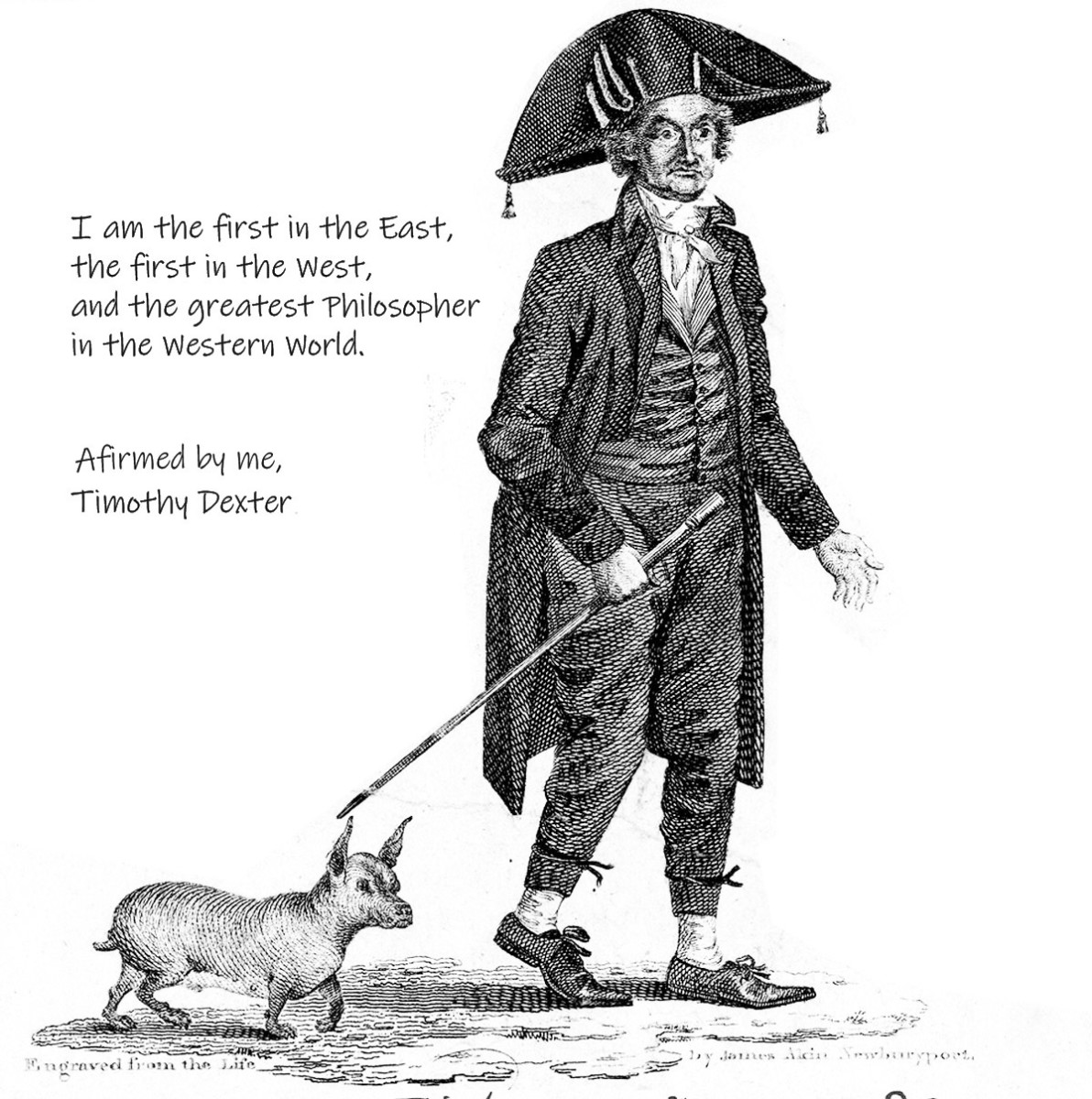 An engraving of Timothy Dexter shortly before he died.