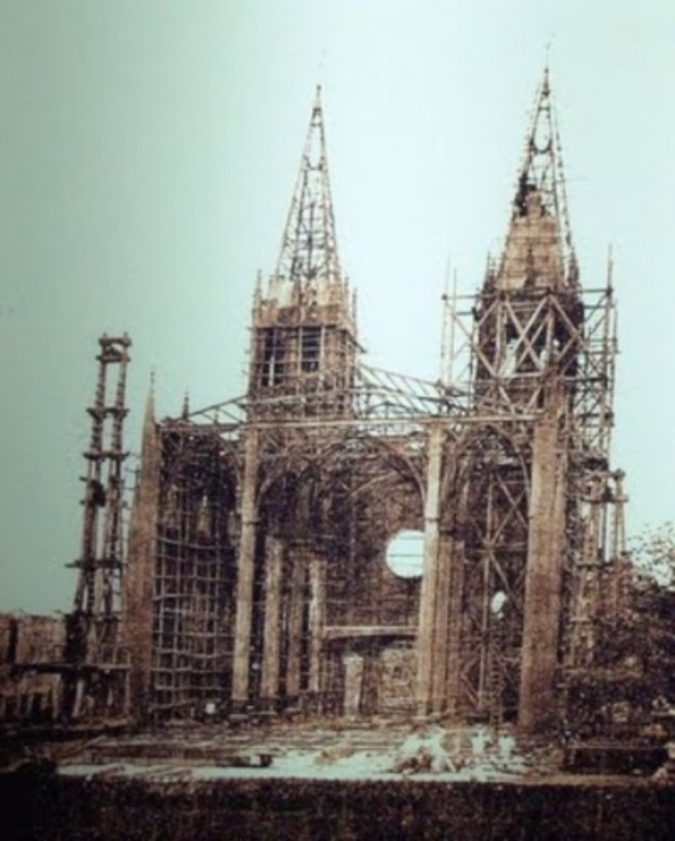 The present structure of San Sebastian Church under construction in the 1880's (Photo credit: Google)