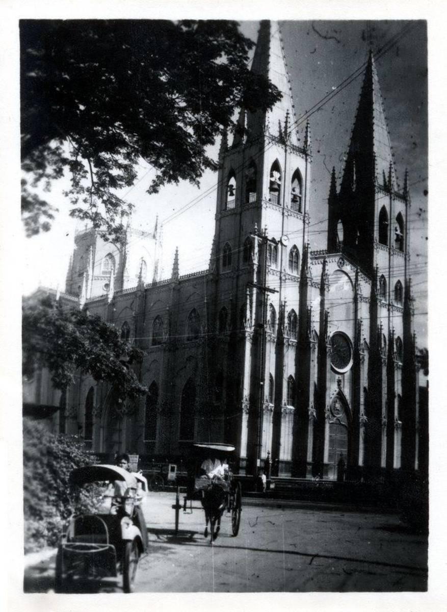 San Sebastian Church in 1945 (Photo credit: Skyscrapercity.com)