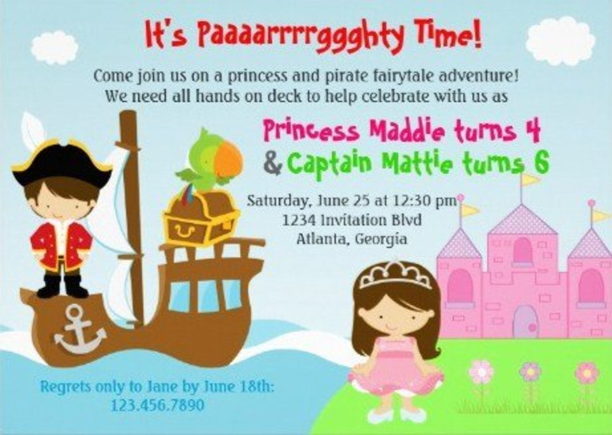 Princess and Pirate Birthday Party and Cake Ideas