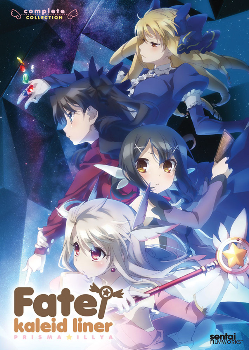 """Official """"Fate/Kalied Liner: Prisma Illya"""" DVD and Blu-Ray art."""
