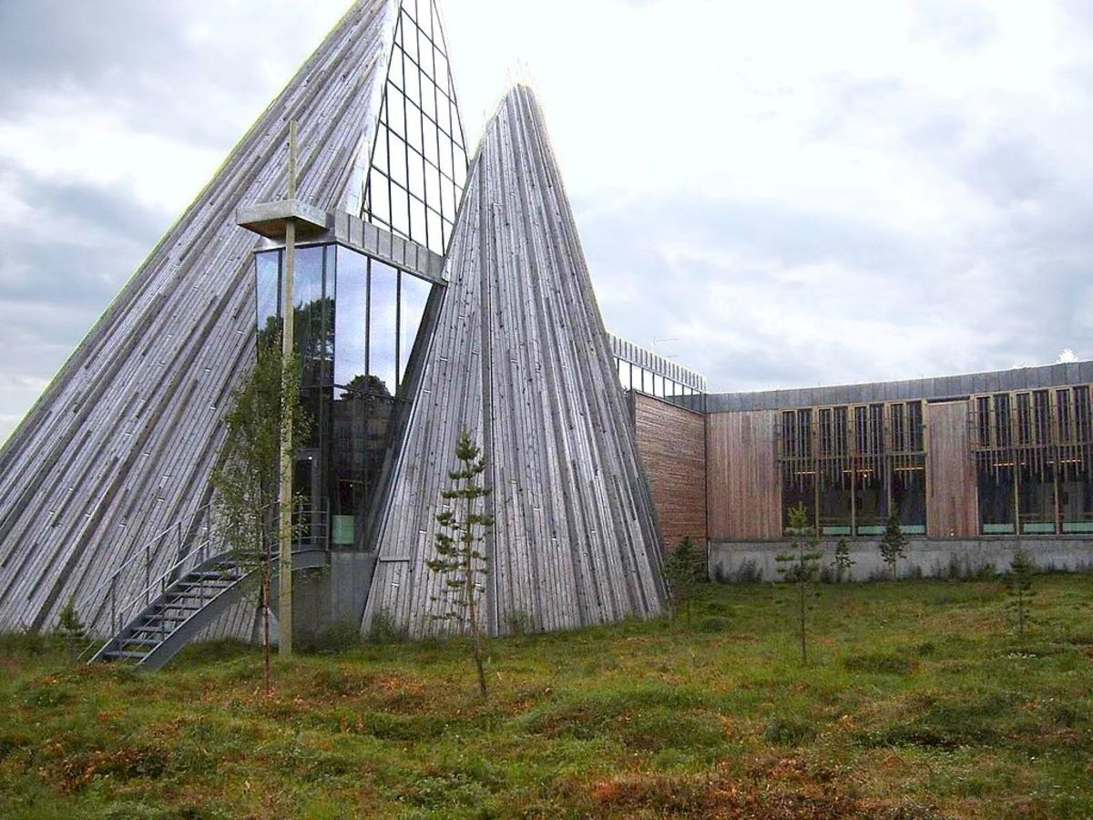 """Sami Parliament Includes a native house -- The Sami traditional teepee is called a """"lavvu"""" in the Northern Sami language."""