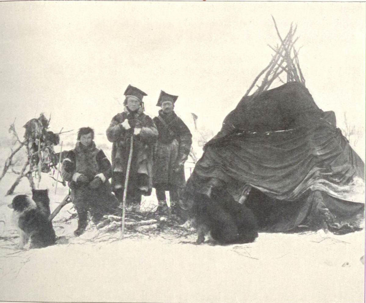 Sami People in the late 1800s, in front of their home.