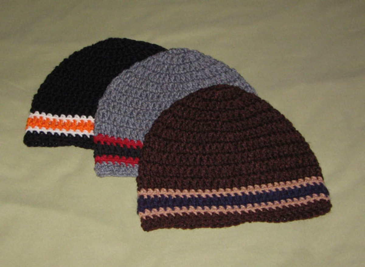 Crochet beanie hats.