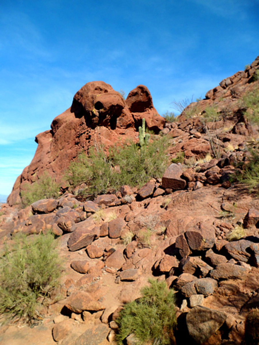 Curious rock formation at trailhead.
