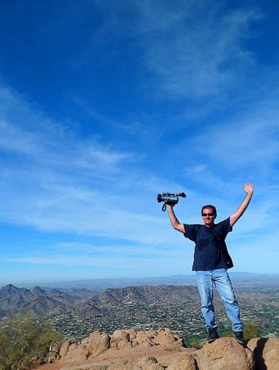 Author's friend Taka on top of Camelback Mountain.