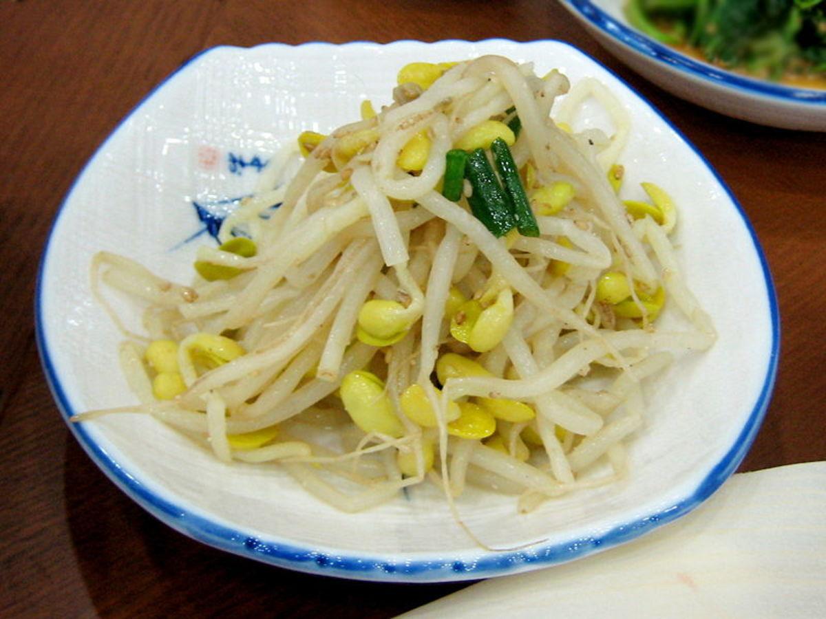 Kongnamul (sauteed soybean sprouts) in Korean cuisine.  Photo credit: Karendotcom127, flickr.com