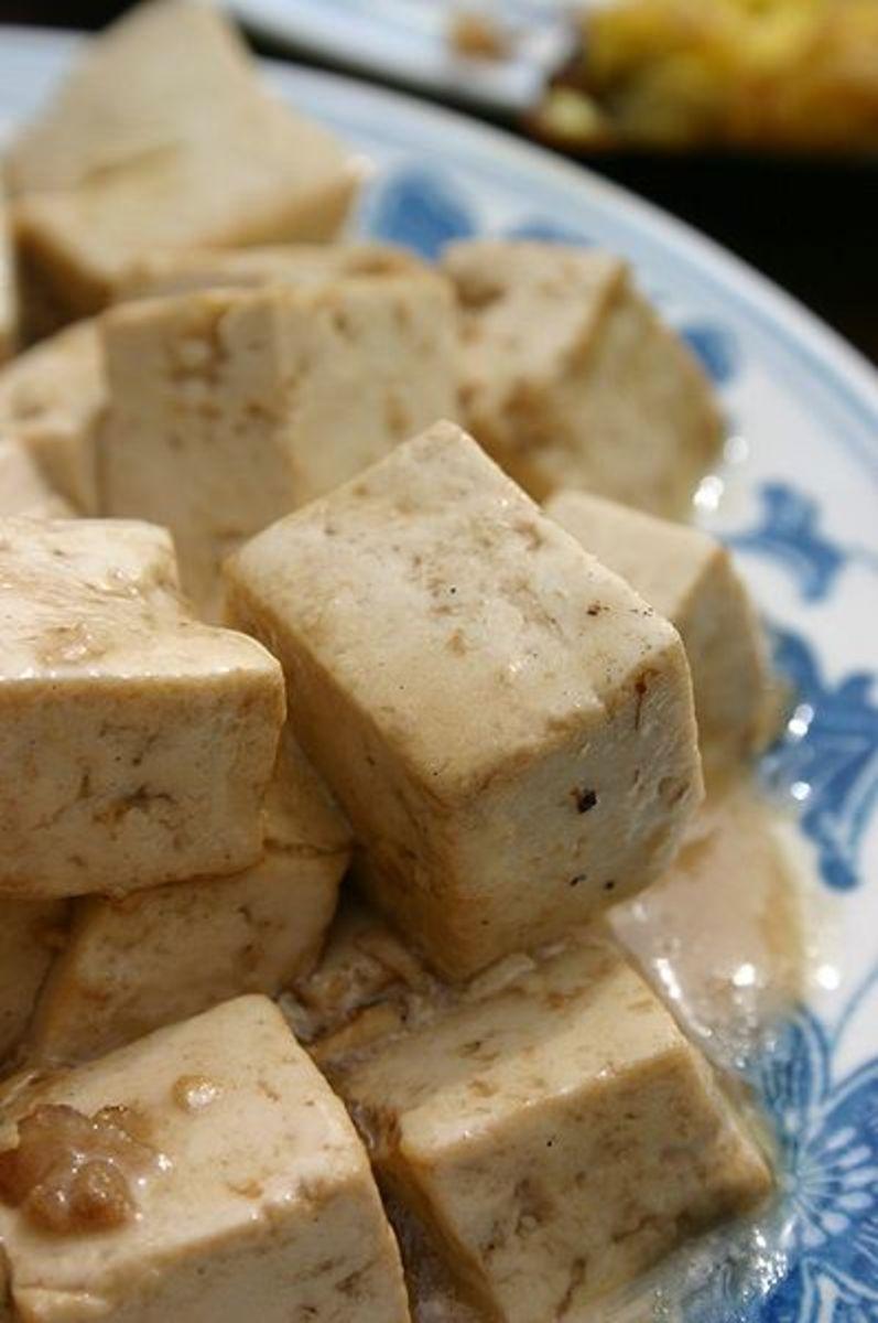 Tofu cooked Chinese style, Beijing, China.  Photo credit: Andrew Lih, Wikimedia Commons