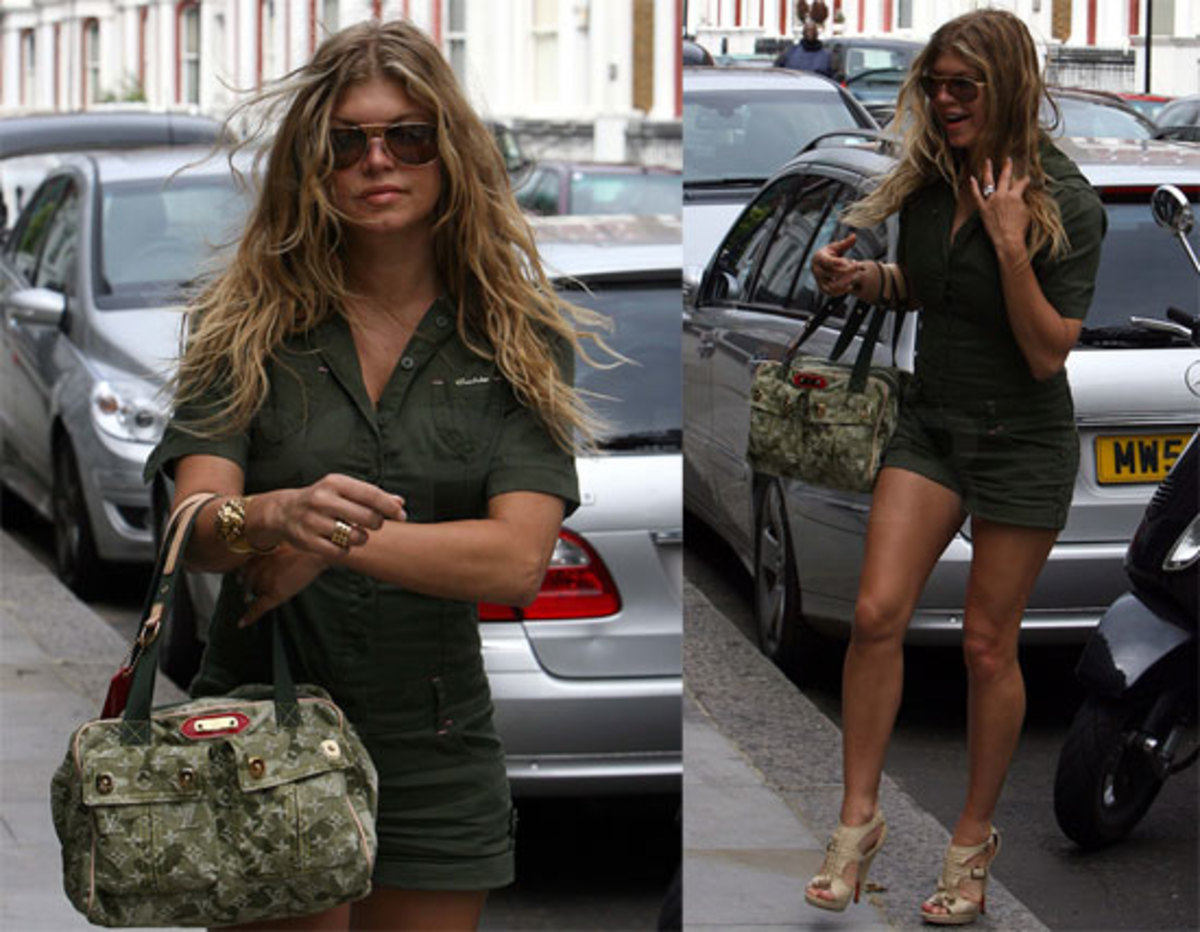 Fergie with her denim LV.
