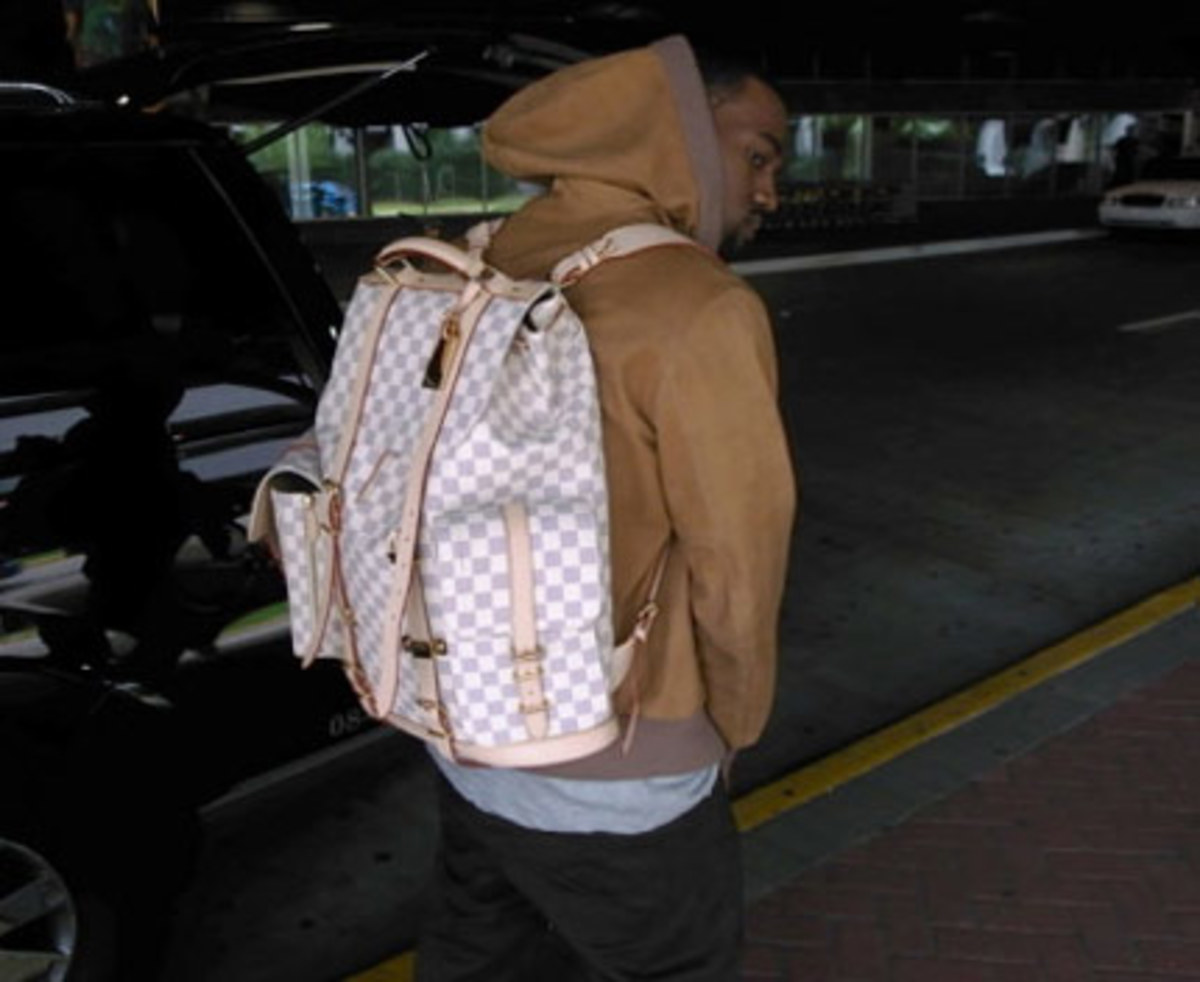 Kanye with Louis Vuitton Damier Backpack
