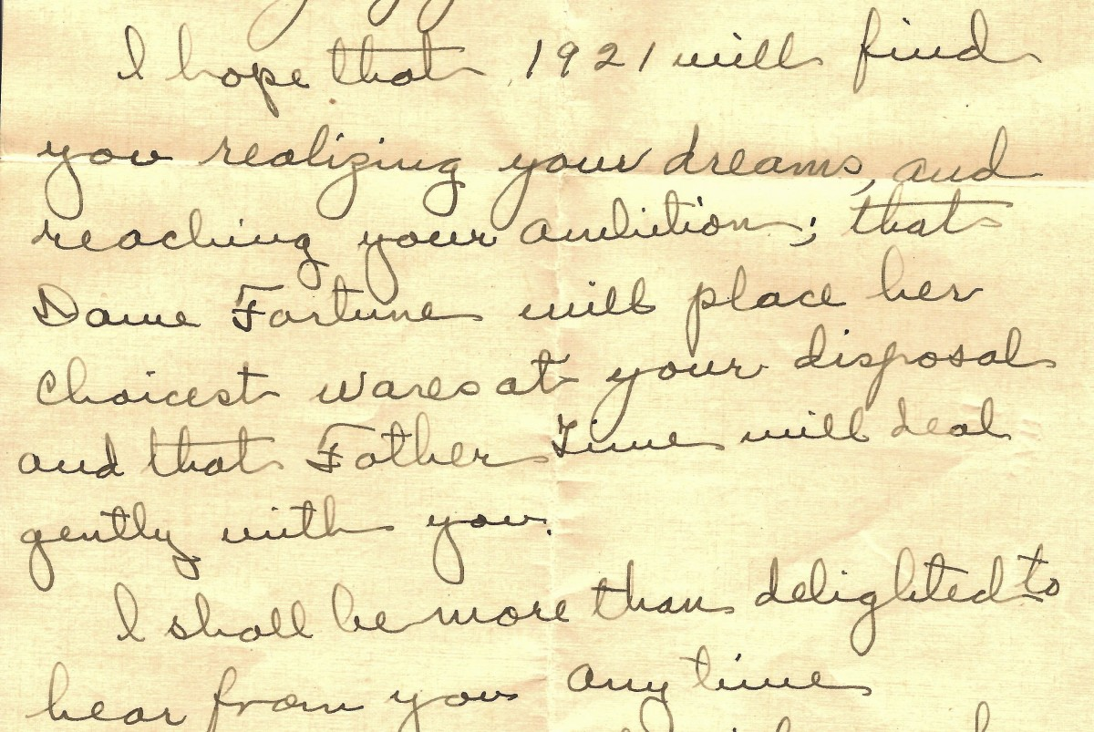 Portion of old handwritten letter...