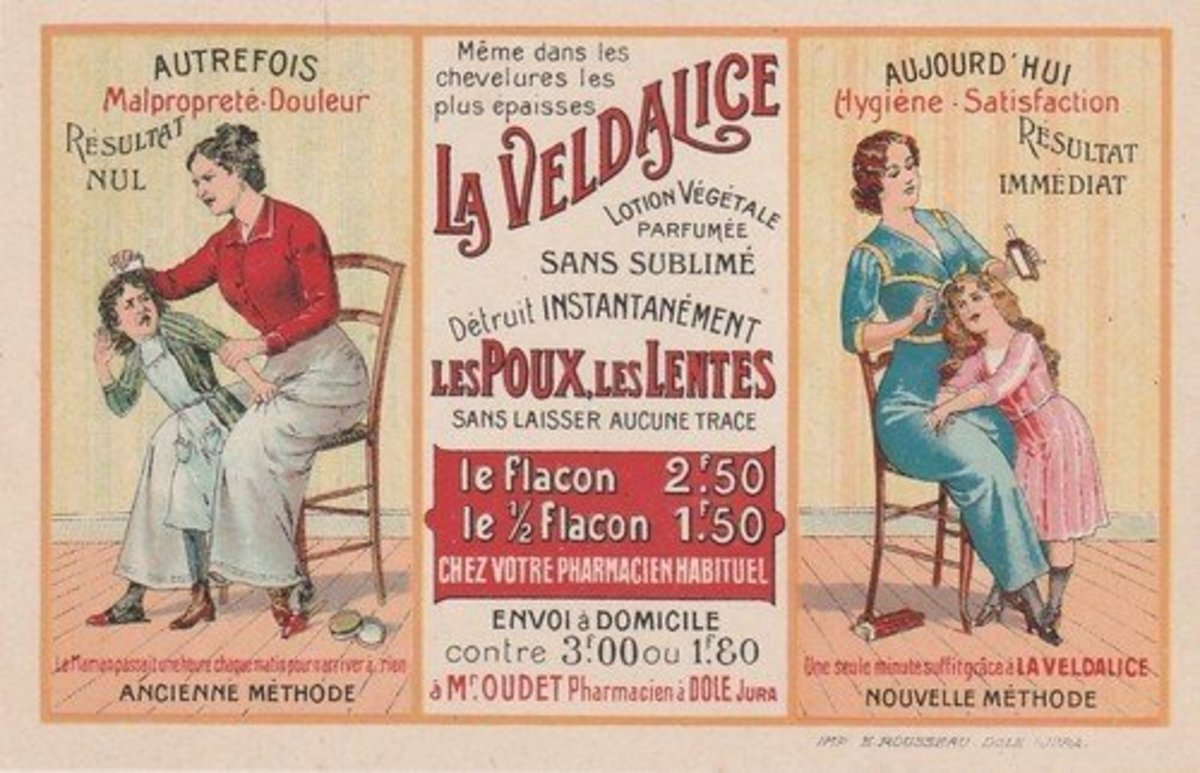 A French advertisement for a wonder cure claiming combing (left) is ineffective while La Veldalice does the job immediately.