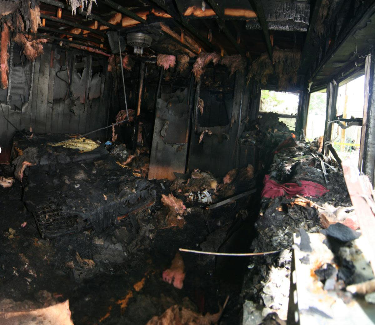 Inside of the trailer after the fire.