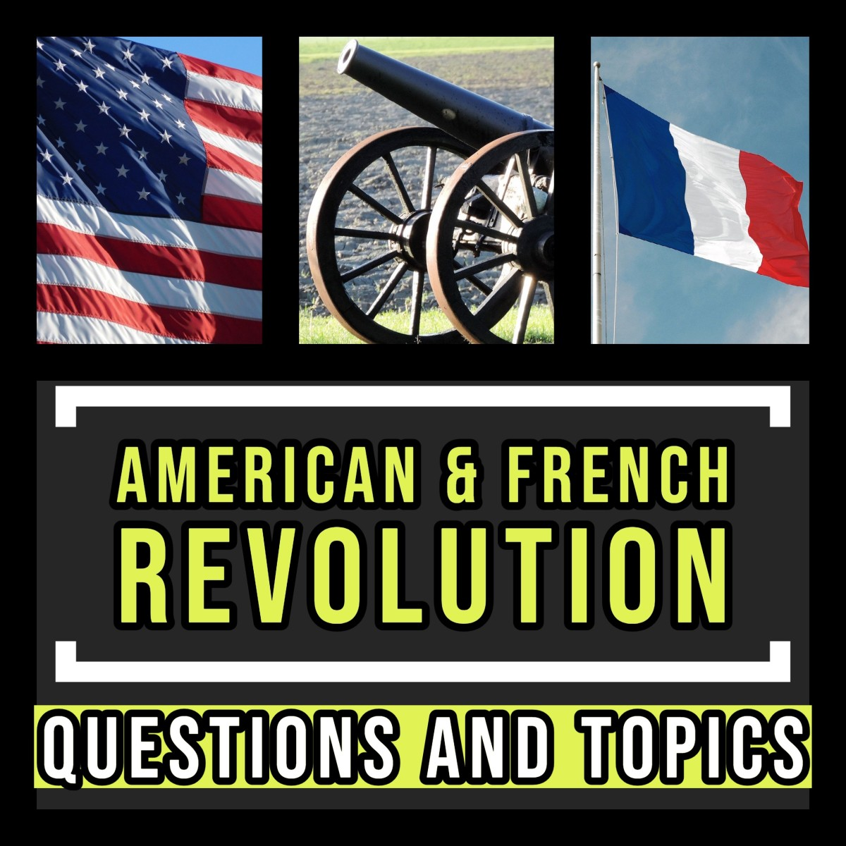 American and French Revolution history topics and questions.