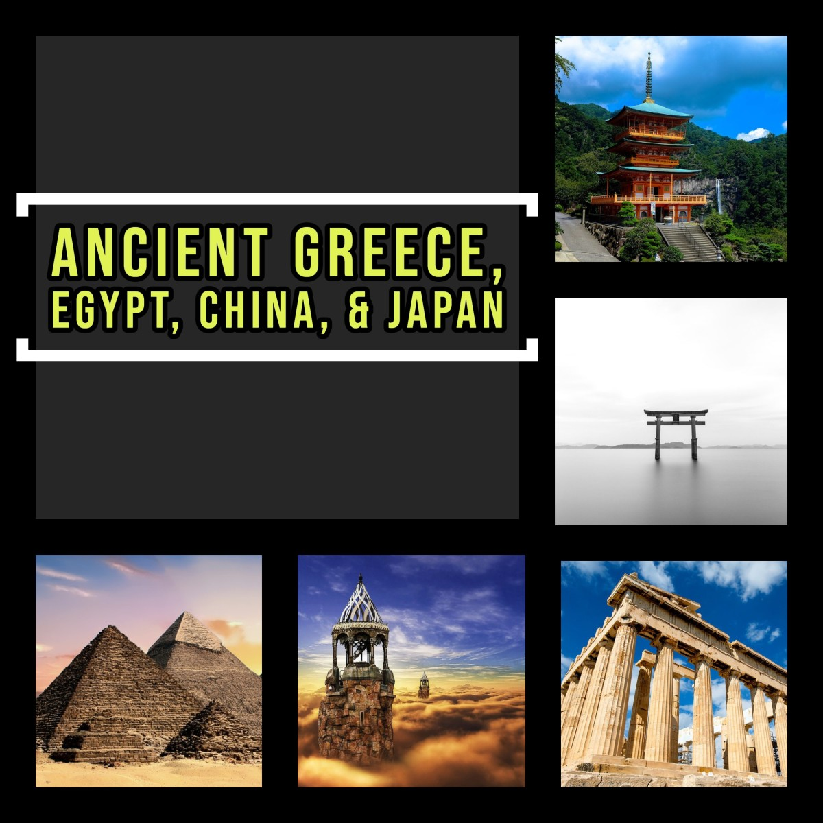 Ancient Greece, Egypt, China, and Japan history topics and questions.