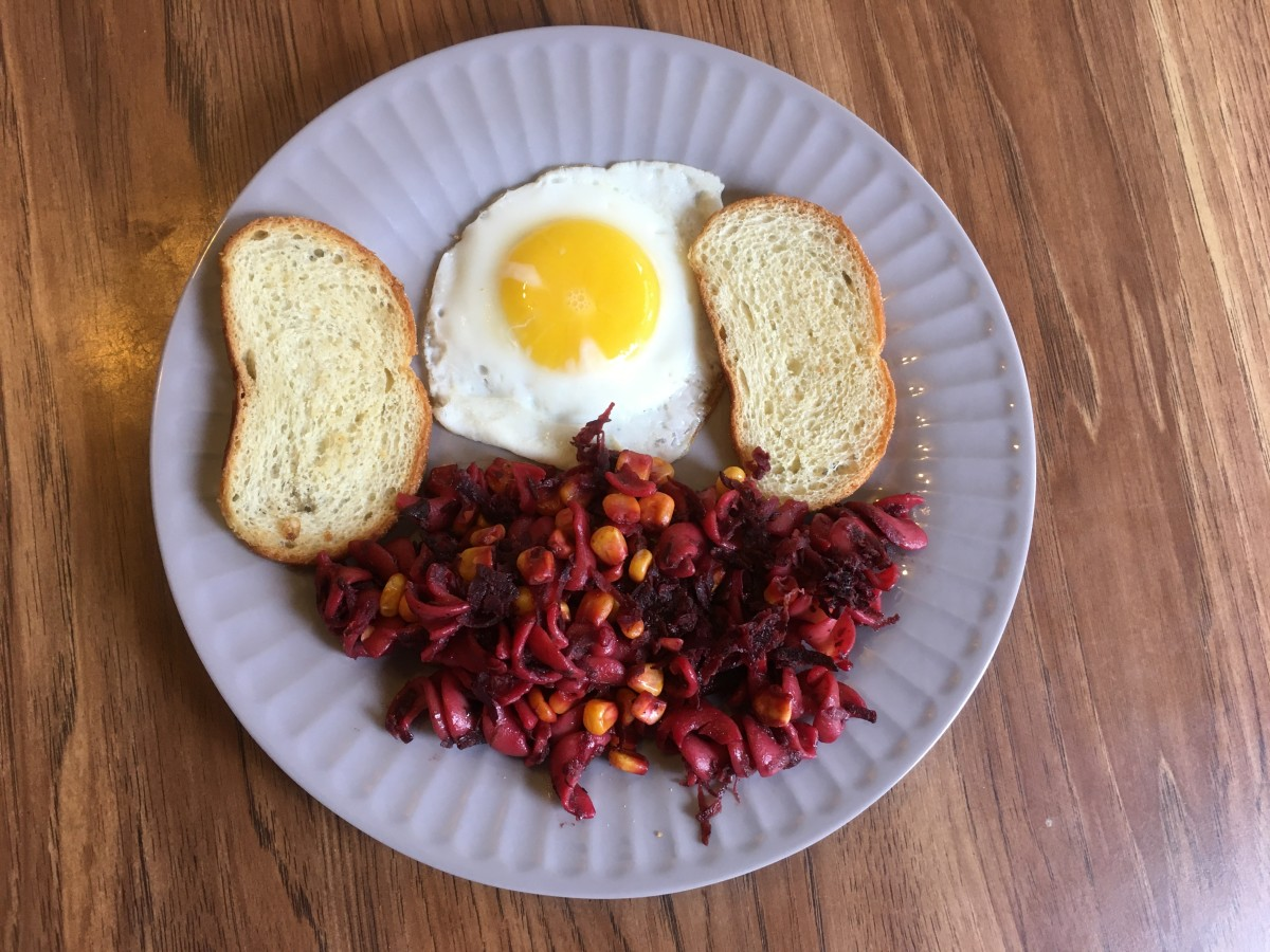 Beet & Corn Pasta With Egg and Toast