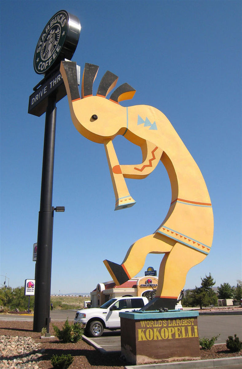 """World's Largest Kokopelli"" at Starbucks in Camp Verde, Arizona"