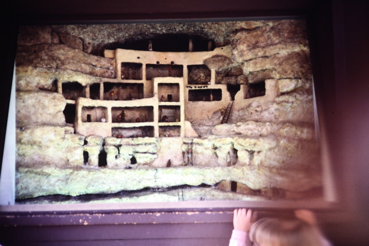 Museum exhibit showing Montezuma's Castle as the rooms inside of the national monument would appear with the stone facing in front removed.