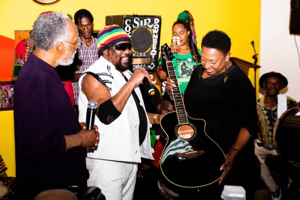 Toots donates his guitar to Jamaica Music Museum, Feb 2020