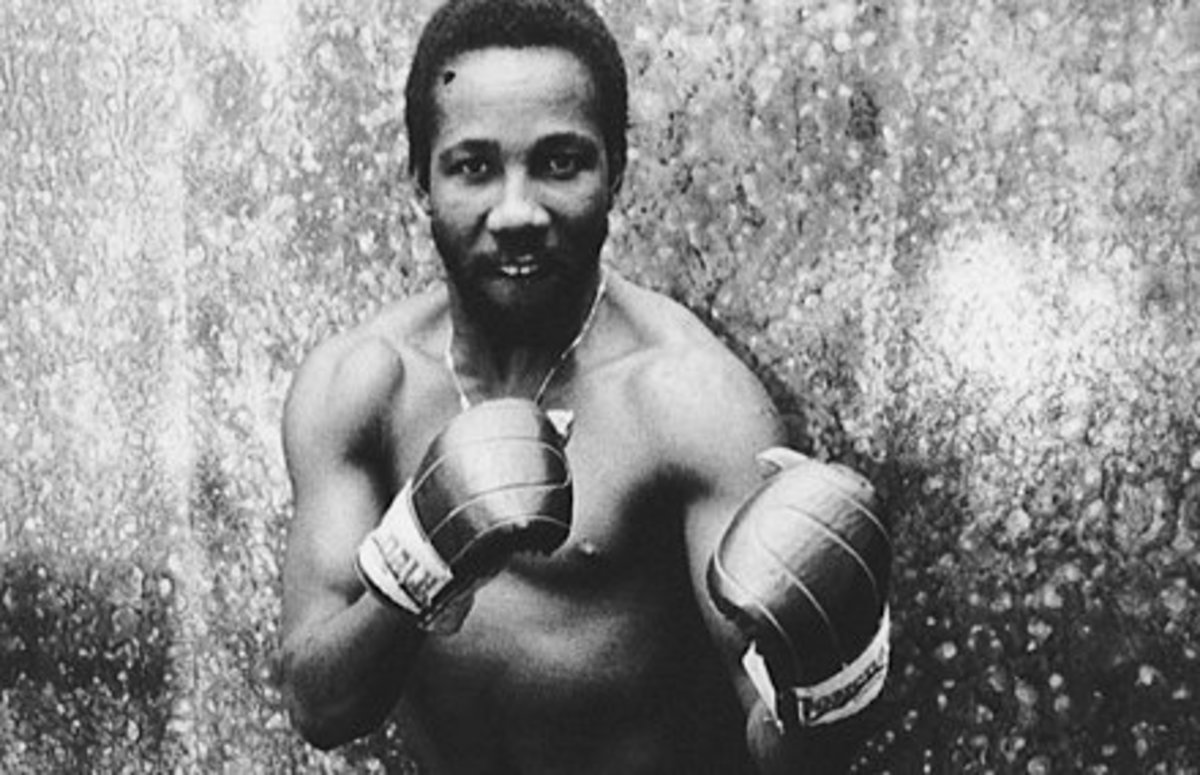Toots poses in boxing gear, San Francisco California, 1975