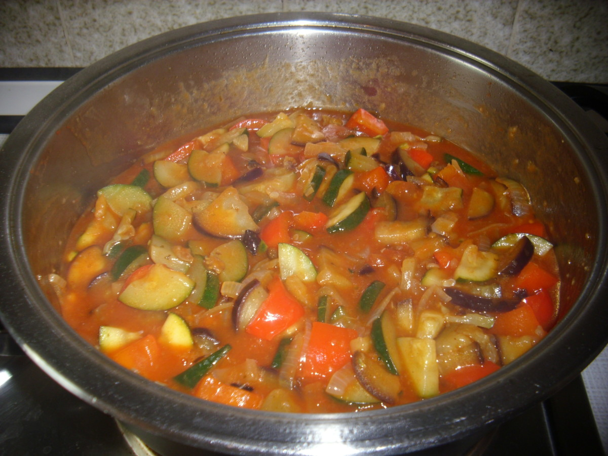 Ratatouille without parsley spread on top.