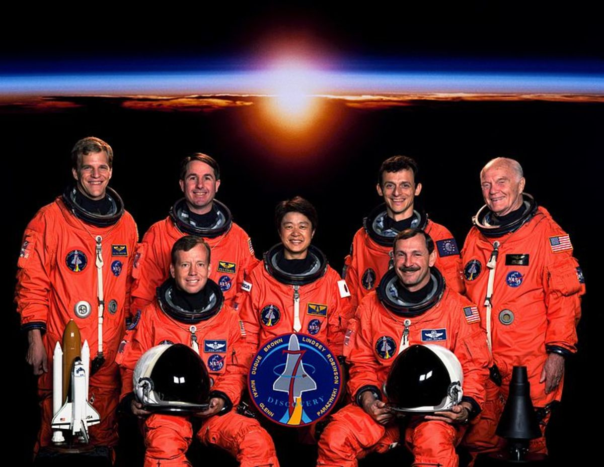 STS-95: Discovery 7. Senator John H. Glenn's return to space in 1998.