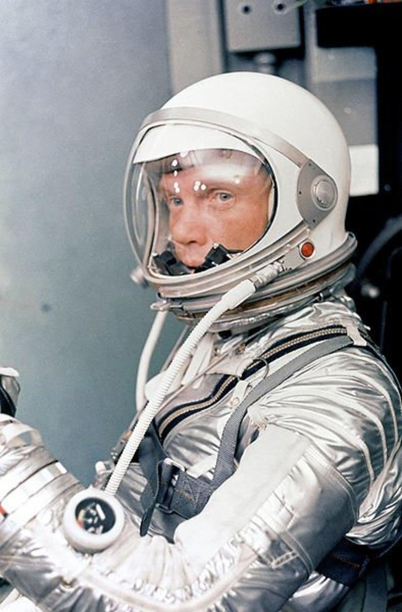 Astronaut John H. Glenn Jr. in his silver Mercury pressure suit , January 1962.