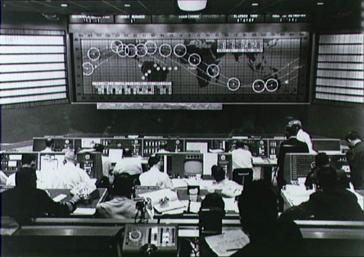 Feb. 20, 1962: At Mission Control, Friendship 7 leaves Eastern Australia on the NASA World Map.