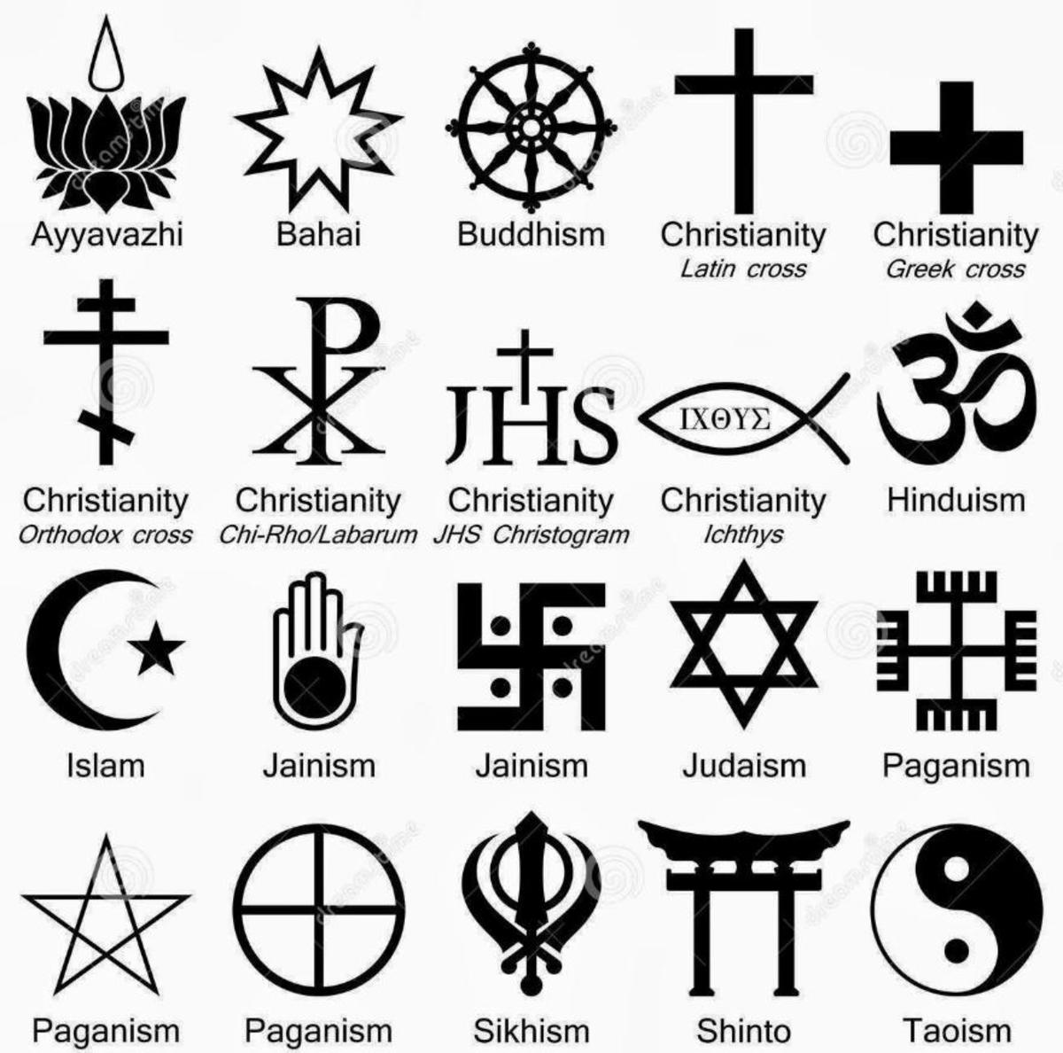 There are many religions in the world, and this photo shows only the major religious symbols of the religion they represent. Now, because there are many religions is is hard to say which one is the right religion to follow. Or even if God exists.