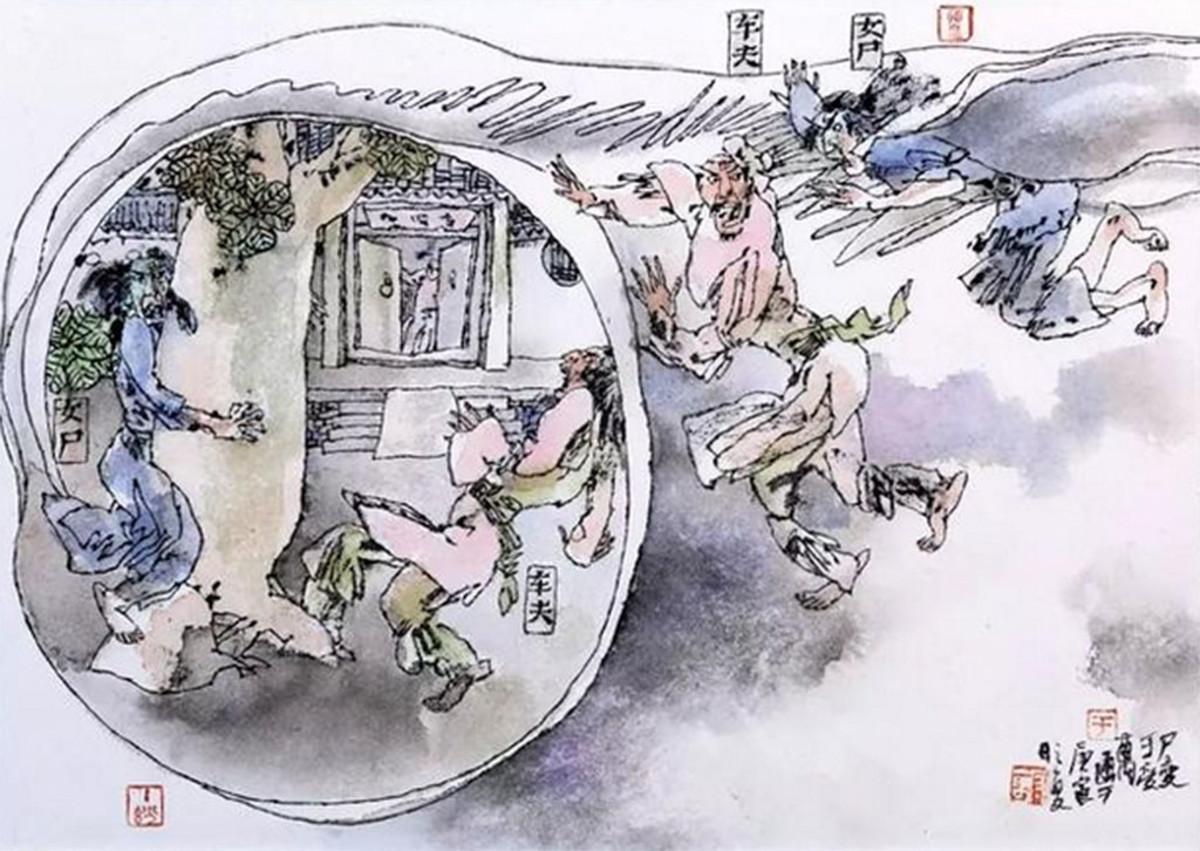 "The horrific story of ""Shibian,"" as illustrated by veteran Chinese artist Yu Shouwan (于受万)."