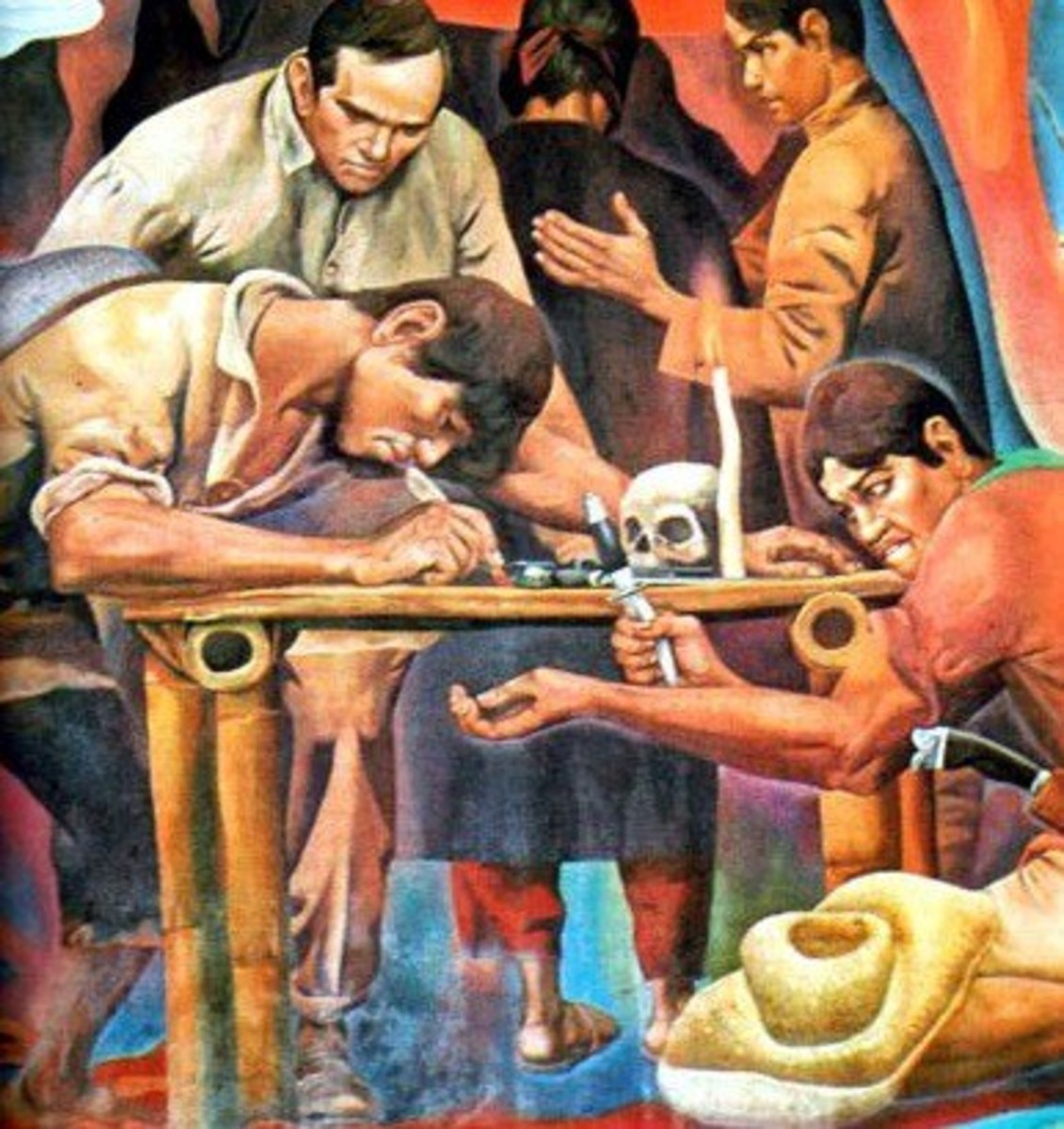 A detail of Carlos Francisco's painting of the Katipunan initiation. Note the human skull on the table.