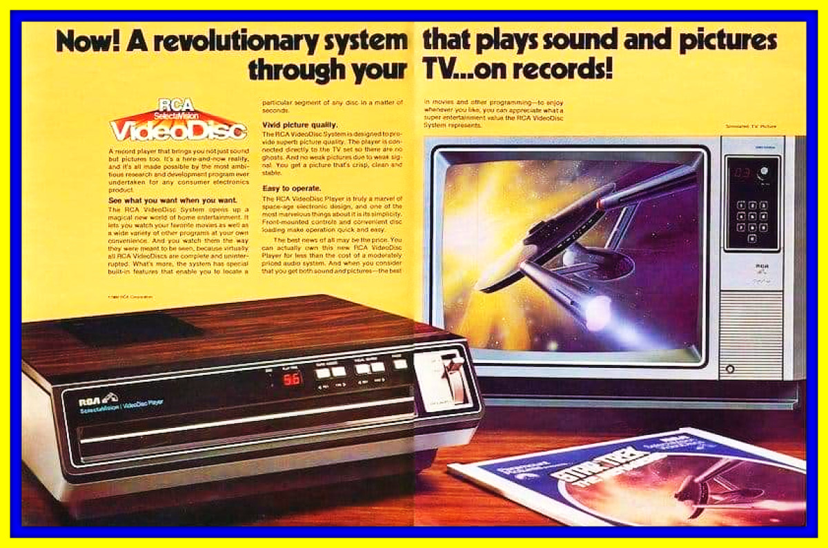 A new revolutionary system created by RCA. Now sight and sound can be played on your television from a record disc developed by RCA.